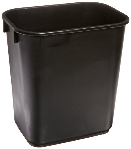 Continental 1358BK 13-5/8 Quart Commercial HDPE Trash Can, Rectangular, Black