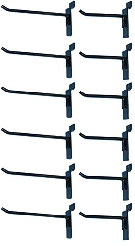 Box of 12 (Six 4-Inch and Six 6-Inch) Black Metal Slatwall Hooks