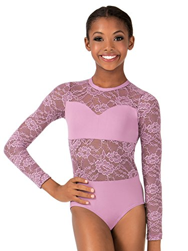 Child Sweetheart Bandeau Lace Long Sleeve Leotard,LC110WHTL,White,Large