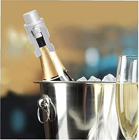 Fivesix Champagne Espumoso tapón de la Botella de Vino de Acero Inoxidable de Ahorro de Sellado al vacío con un Sistema Incorporado en la presión de la Bomba de Plata, Regalos Camarero Kit