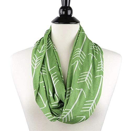 Tulas Women Winter Convertible Infinity Scarf with Pocket Loop Zipper Pocket Scarves (Green)