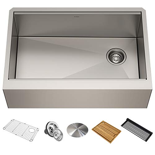KRAUS KWF410-30 Kore Workstation 30-inch Farmhouse Flat Apron Front 16 Gauge Single Bowl Stainless Steel Kitchen Sink with Integrated Ledge and Accessories (Pack of 5)
