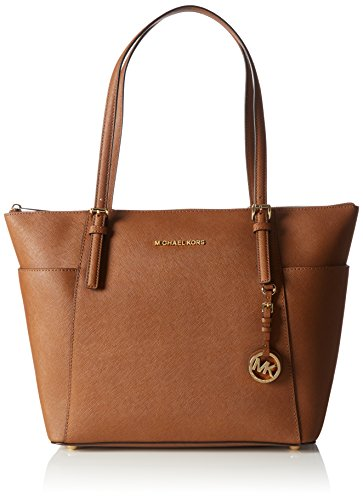 Leather Top Zip Large Tote (Michael Kors Women's Jet Set Large Top-Zip Saffiano Leather Tote Bag, Luggage, OS)