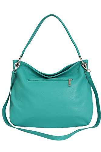 body AMBRA Turquoise Women's bag GL002 Shoulder Leather Bag bag Many Cross Moda Hobo Handbag Genuine colors ggZqrnv