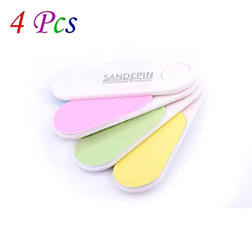 Brendacosmetic 4 Pcs Professional Mini Sector nail Polishing file ,Colorful with Four functions Manicure tools Nail File for Women Ladies Girls