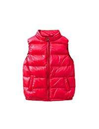 Toddler Baby Boy Girl Winter Warm Cotton Solid Vests Kids Waistcoat Coat Jackets