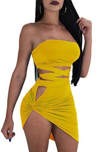 De Vestido Sin Yellow Hot Asimétrico Tirantes Mini Verano Vestidos De Bodycon Corte Mujeres Las AqTngg