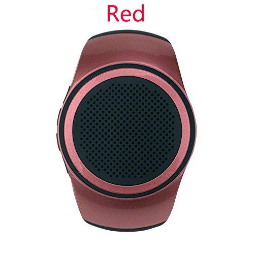SUERSUN Speaker Watch, Wearable Speaker Mini Multifunctional Bluetooth Sports Speaker, TF Card MP3 Music Player, FM Radio, Handsfree, Selfie, Red Photo #5