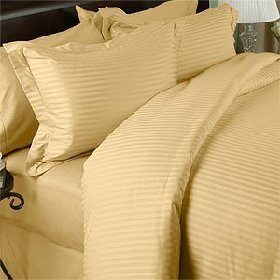 DAMASK Luxury Egyptian Cotton 1200 Thread Count Sateen Stripe Bed Sheet Set - Gold King.