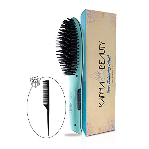 Straightening Brush Anti – Scald Feature Ionic Ceramic Technology LCD Screen Auto Shut Off Incl Tail Comb Karma Beauty Turquoise