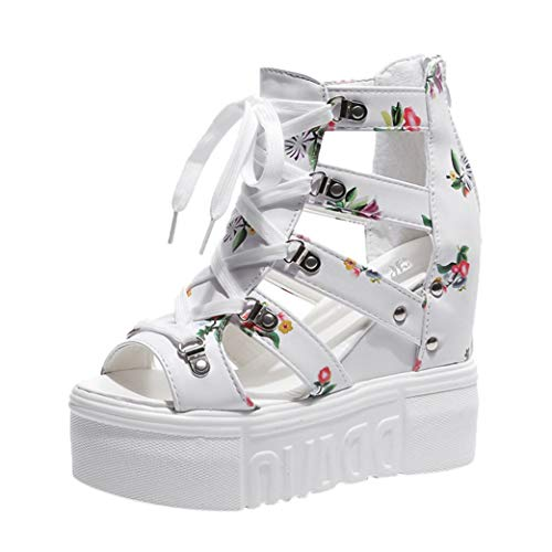 Women's Chunky Platform Sandals High Heel Peep Toe Cut Out Floral Lace Up Roman High Top Wedge Sandal White
