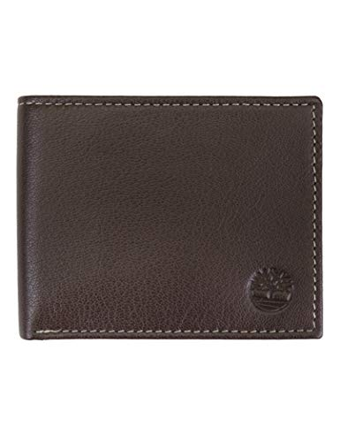Men's Leather Wallet with Attached Flip Pocket, Dark Brown