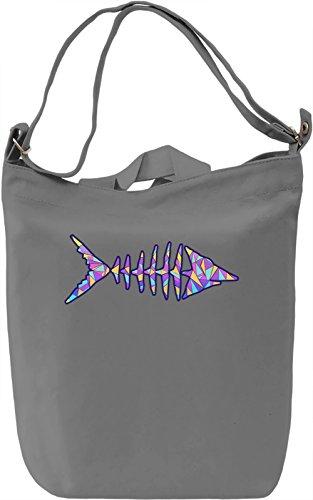Geometric Fish Borsa Giornaliera Canvas Canvas Day Bag| 100% Premium Cotton Canvas| DTG Printing|