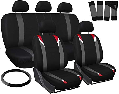 Motorup America Auto Seat Cover Full Set - Fits Select Vehicles Car Truck Van SUV - Black/Red/Gray
