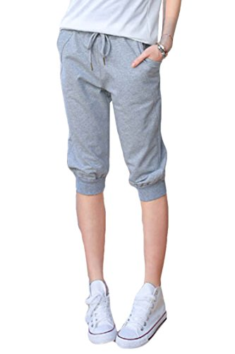 Pink Queen Women's Casual Drawstring Cuffed Cropped Pants Capri Joggers Style 2-gray X-Large
