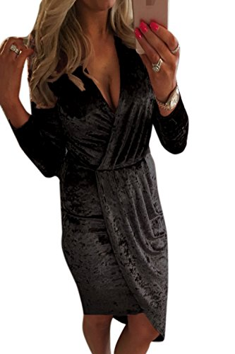 Fiesta De En Black Invierno De Mujer MIDI Vestido La Cuello Noche Profundo V Asimétrico xIvaROq