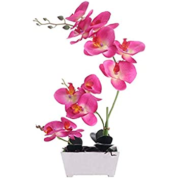 Orchid PlantFor Artificial Flowers,Orchids Artificial,Orchid Arrangement ,Orchid PlantPerfect Packaging 11 Heads 4 Color With Woodiness Vase For Environmental Protection