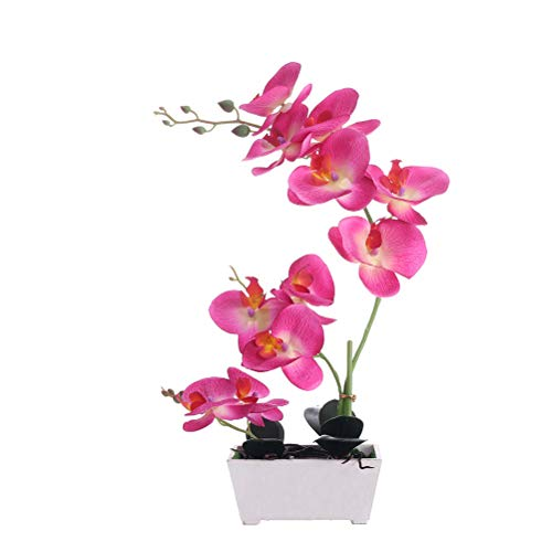 Orchid Plant  For Artificial Flowers,Orchids Artificial,Orchid Arrangement ,Orchid Plant  Perfect Packaging 11 Heads 4 Color With Woodiness Vase For Environmental Protection (Orchid Pink Artificial)