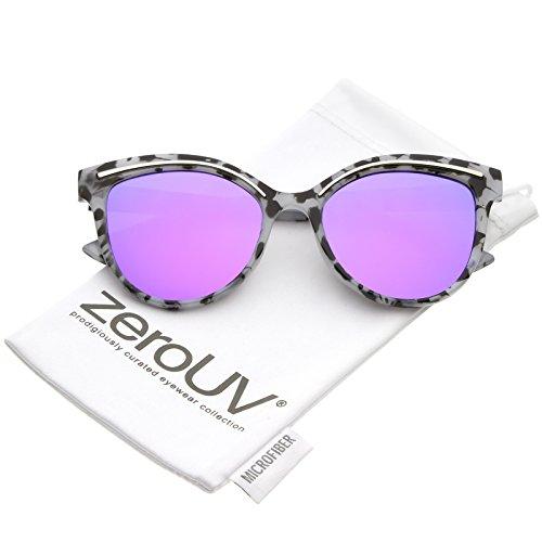zeroUV - Modern Metal Brow Detail Round Colored Mirror Flat Lens Cat Eye Sunglasses 53mm (Marble Silver / Purple - Sunglasses Krewe