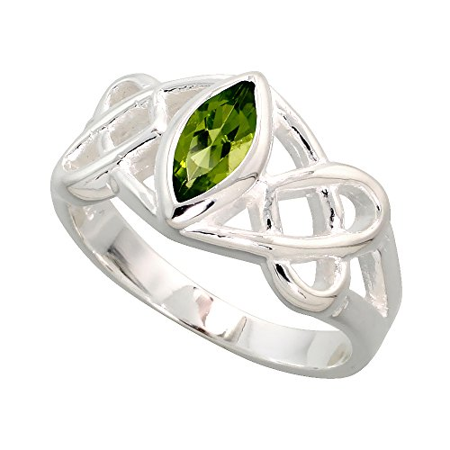 Sterling Silver Celtic Motherhood Knot Ring with Natural Peridot, 3/8 inch wide, size 8 (Knot Celtic Peridot)