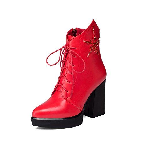 Girls Red Chunky Bandage Boots Microfiber BalaMasa Diamond Heels Glass TB4Bwd