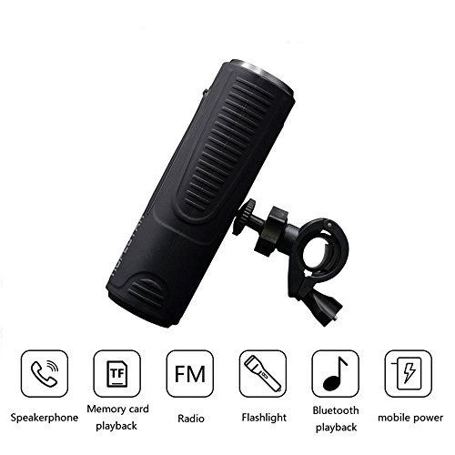Abuzhen Bluetooth Speaker Outdoor Waterproof Speaker with 2400mAh Power Bank Bicycle Portable Subwoofer Bass Speaker LED light +Bike Mount (black)