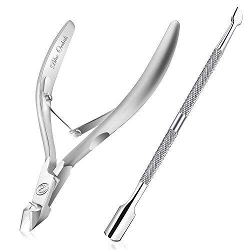 Cuticle Nipper with Cuticle PusherProfessional Grade Stainless Steel Cuticle Remover amp CutterDurable Manicure and Pedicure ToolBeauty Tool Perfect for Fingernails and Toenails