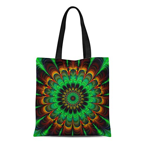 - Semtomn Cotton Canvas Tote Bag Brown Fractal Abstract Flower in Verdigris Colors Digitally Rendered Reusable Shoulder Grocery Shopping Bags Handbag Printed
