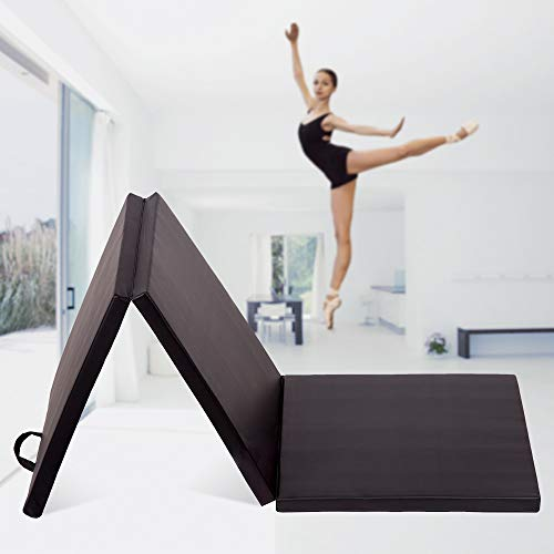 Gym Mat 2'x6'x2″ Gymnastics Mat Folding Thick Gym Tumbling Mat for Kids Stretching Aerobics Training Yoga Mat for Martial Arts Fitness Firm Panel Wrestling Mat for Home with Carry Handles Black