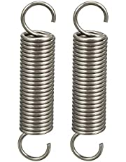 """uxcell® Extended Compressed Spring Wire Diameter 0.047"""", OD 0.39"""", Free Length 1.97"""" Stainless Steel Small Dual Hook Tension Spring 2pcs"""