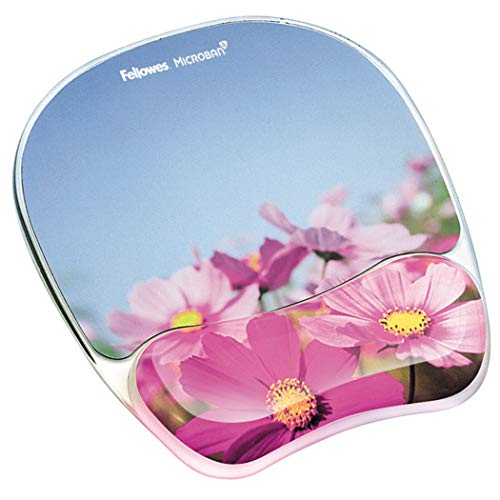Fellowes Photo Gel Mouse Pad and Wrist Rest with Microban Protection, Pink Flowers ()