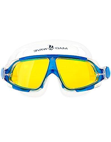 Mad Wave Unisexe M046301003W Masque de natation, taille unique bleu/jaune