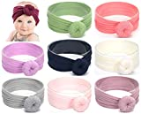 Baby Headbands Turban Knotted, Girl's Hairbands for Newborn, Toddler and Children's (9-pack Circle Bow)