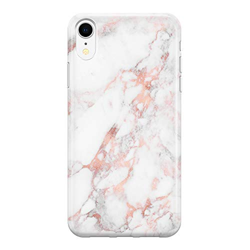 uCOLOR Case for Girls Compatible with iPhone XR Rose Natural Marble Matte Slim Soft Flexible TPU Silicone Shockproof Cover Compatible with iPhone XR(6.1