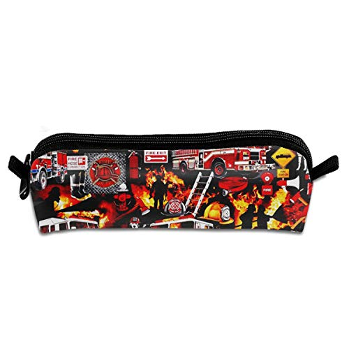 Fire Firefighter Pencil Bag Holder Pen Case Coin Purse Pouch Stationery Pouch Bag with Zipper for Girls Kids
