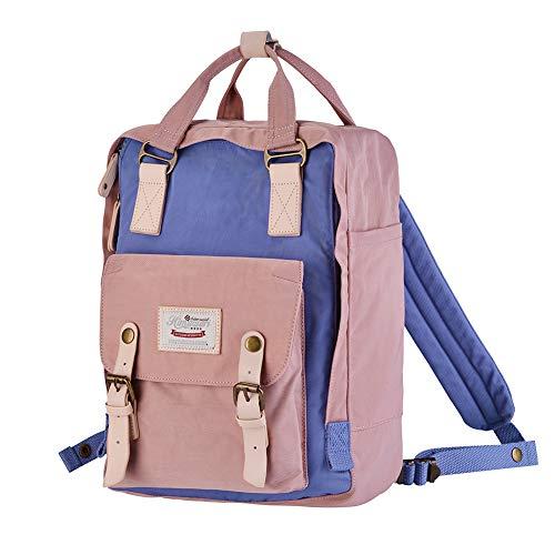 "Himawari School Functional Travel Waterproof Backpack Bag for Men & Women | 14.9""x11.1""x5.9"" | Holds 13-in Laptop (Pink & Purple)"