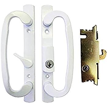 Sliding Glass Patio Door Handle Set with Mortise Lock, White, Keyed ...