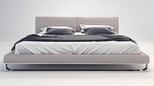 Lucca Storage Bed - Eco Leather and Chrome California King Lucca Platform Bed - Light Gray