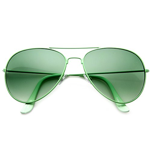 zeroUV - Classic Metal Tearddrop Bright Color Aviator Sunglasses w/ Spring Hinges (Green - Sunglasses Best Bright For Color Sun
