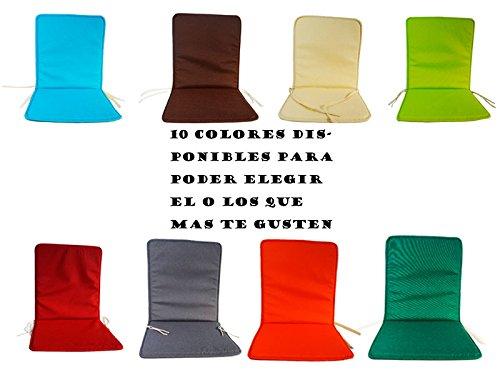 Cojín para silla con respaldo loneta liso (Verde)