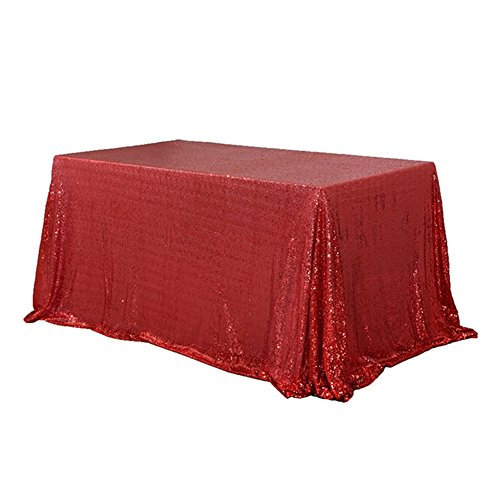 """TRLYC 90"""" 132"""" Red Sequin Table Cloths Glitz 6FT Tablecloth"""