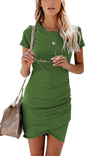 Women Dresses Summer Casual Ruched Short Sleeve Asymmetrical Bodycon Mini Dress Large (Ruched Dress Color)