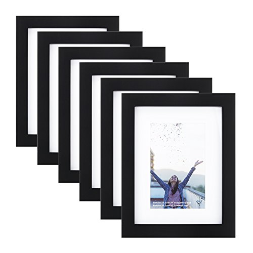 5x7 inch Picture Frame (6pk) Made of Solid Wood and High Definition Glass Display Pictures 4x6 with Mat or 5x7 Without Mat for Wall Mounting Photo Frame Black