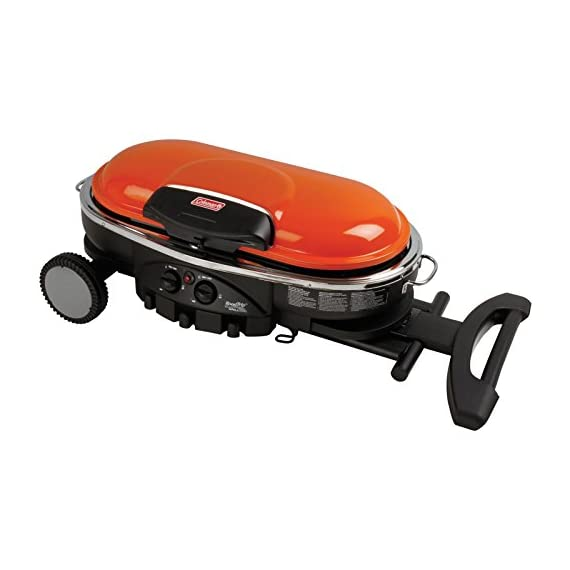 Coleman Propane Grill | RoadTrip LXE Portable Gas Grill 2 Perfect Flow Pressure Control System for steady heat, even in the cold Portable grill sets up in seconds East to transport, folds to compact size with large handle and wheels for easy pulling