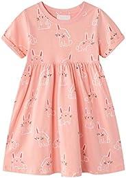 JinBei Little Gril Dress Summer Animal Short Sleeve Tutu Cotton Mesh Dresses Size 3-7T