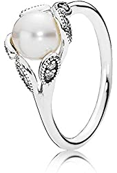 PANDORA Luminous Leaves Freshwater Cultured Pearl Ring 190967P, Different Sizes Available (5 / 50)
