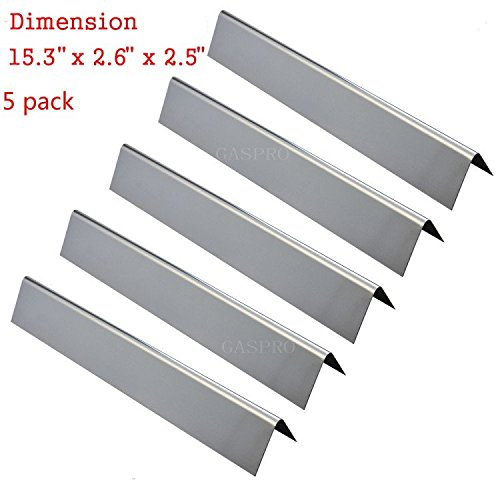 Steel Flavorizer Bar Replacement for 46510001, 47513101 Spirit 300 E310 E320 Series Gas Grill with Front Controls (L15.3 x W2.6x T2.5inch) (5 Pack) (Spirit Stainless Steel)