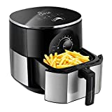 JESE Air Fryer, Multifunctional Air Cooker with Recipe Book, 1300W 3.5Qt Hot Air Fryer with Stainless Steel Frying Basket, Smart Time and Temperature Control