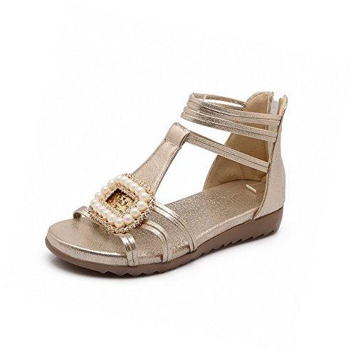Sandals Solid Low Gold WeenFashion Material Soft heels Toe Women's Zipper Open cwc4TqHz18