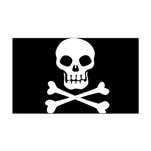 (CafePress - Pirate Flag Skull and Crossbones Rectangle Car Mag - Rectangle Car Magnet, Magnetic Bumper Sticker)